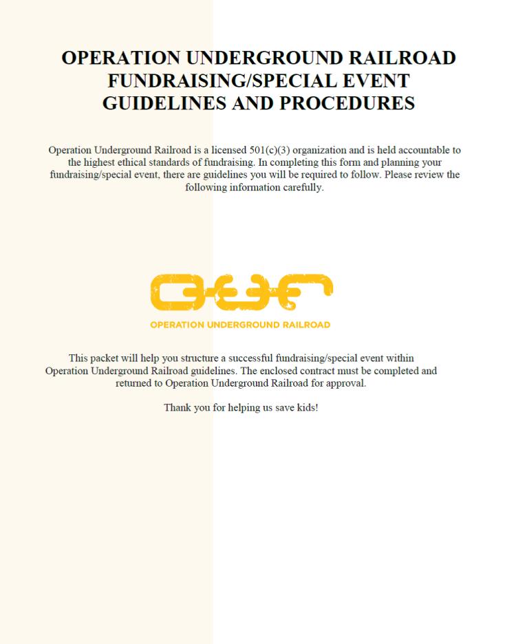 Fundraiser Guidelines