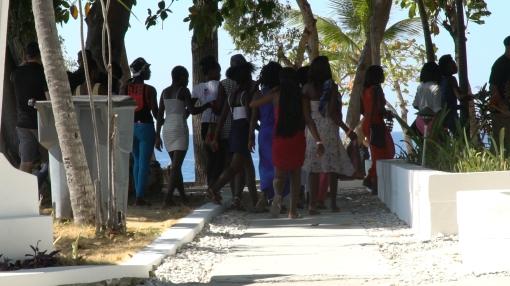 girls walking