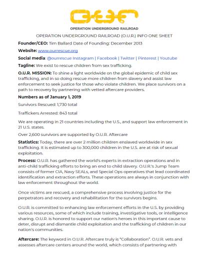 o.u.r. info sheet